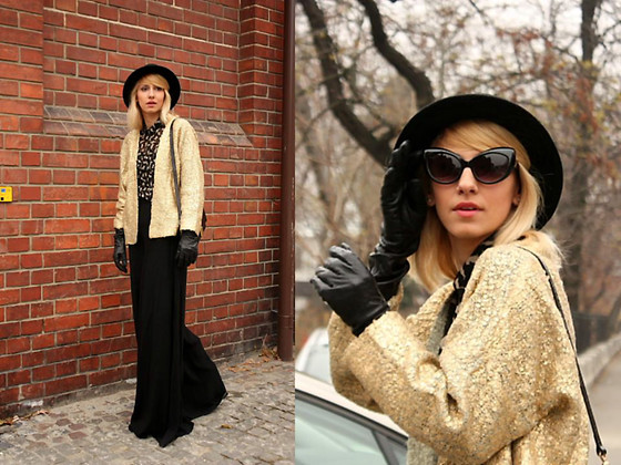 Dana Rogoz - Vera Wang Gloves, H&M Blazer, Zara Blouse, Topshop Pants, H&M Hat, Mango Sunglasses - Cat eye