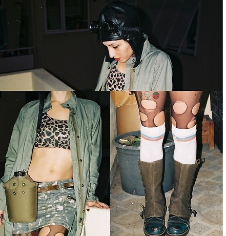 ☾  Nocticula Hekate ♆ - Dr. Martens Docs, Striped Socks, Ripped Leggings, Aviator Hat, Goggles, French Army Gaiters, Zara Raincoat, H&M Leopard Half Top, Vintage Army Water Bottle - In 2033 justice rides a tank and wears lip gloss!
