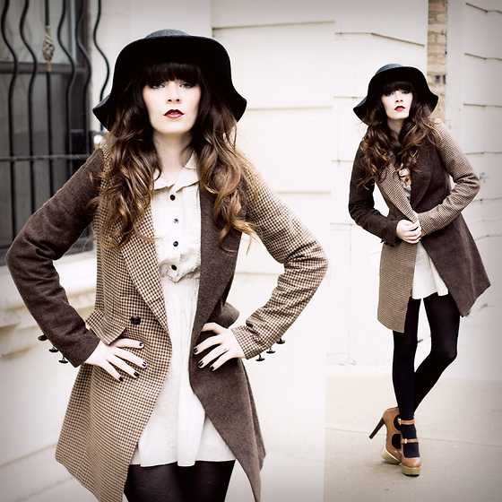 Rachel-Marie Iwanyszyn - Urban Outfitters Floppy Wool Hat, Asos Check Coat, Clubcouture Khaki Dress, Black Tights, Office London Double Strap Heels, Http://Www.Jaglever.Com - MIXED CHECK COAT.