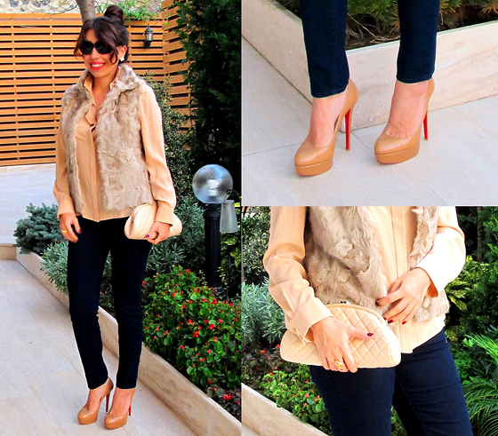 Ayshe Rose - Christian Louboutin Heels, Chanel Clutch, Chloé Silk Shirt, Gap Jeans - Neutral Winter