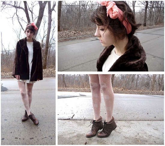 Willie Z. - Brown Faux Fur Coat, Vintage Silk Dress, Urban Outfitters Rose Tights, Fitzwell Brown Boots, Vintage, Great Grandmothers Peach Bow - To my mother, with love.