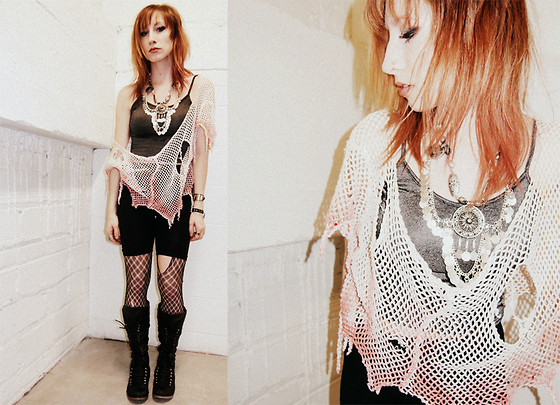 Casey Kaufman - Net Top, Euphoria Gypsy Necklace, Ebay Boots - THE SEAWEED IS ALWAYS GREENER