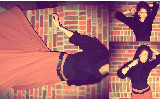 Amanda Christine W - Edme & Esyllte Maxi Skirt, Vintage Sequined Cardigan, Vintage Snakeskin Belt - All things go.