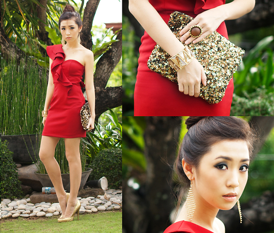 Kryz Uy - Windsor Red Dress, Sm Accessories Earrings, Ring And Bangle, Zara Glitter Clutch, Michael Antonio Gold Pumps - Happy New Year, Lookbook!