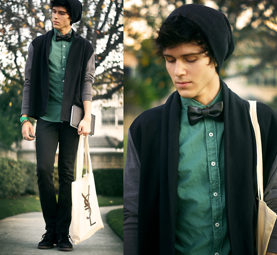Adam Gallagher - Leather Bowtie, Topman Green Shirt, Cardigan - Leather & Jade
