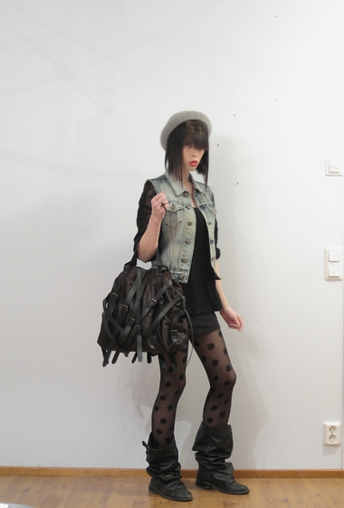 Elina Laakso - Bag, Weekday Boots, Second Hand Vest, H&M Stockings - Year of Silence