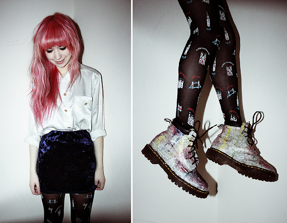 Kayla Hadlington - Charity Shop Shirt, Primark Skirt, Mary Quant London Tights, Dr. Martens Dr - DIY NEWSPAPER DR MARTENS