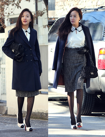 Becky Baek - Navy Double Coat, Pearl Collar T Shirt, Tweed Bag, High Waist Tweed Skirt, Coloration Heels - Happy new year