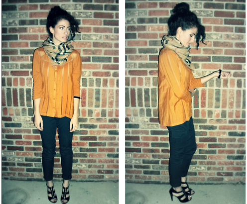 Amanda Christine W - Burberry Scarf, Anthropologie Blouse, Micheal Kors Strappy Zip Up Heel - CITRINE