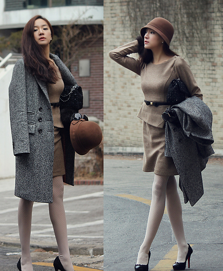 Becky Baek - Basic Double Coat, Brown Cloche, Classic One Piece, Tweed Bag, Tweed Heels - Classic