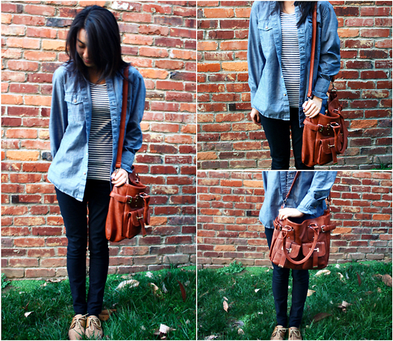 Mindy H - Urban Outfitters Denim Shirt, Cross Body Bag, Jeans, Oxfords - ☆ thankless thing