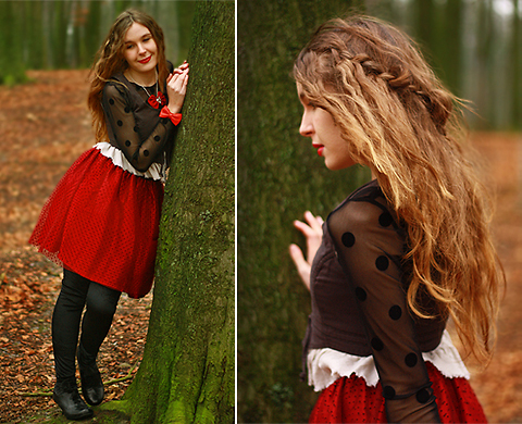Dayskyfairy M - Zara Polka Dot Top, Only Jacket, Self Made Red Riding Hood Skirt - Little Red Riding Hood