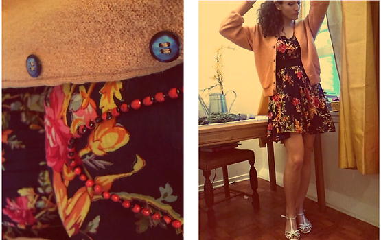 Amanda Christine W - Little Tokyo, La Beaded Necklace, Xhilaration Cotton Dress, Arnold Palmer Cardigan, Alex Marie T Strap Cork Wedge - ARNOLD PALMER
