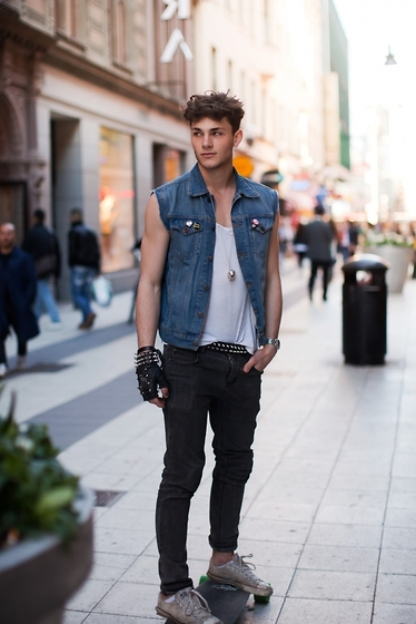 Oscar Spendrup - Denim Vest, Necklace, T Shirt, Belt, Jeans, Shoes - DENIM