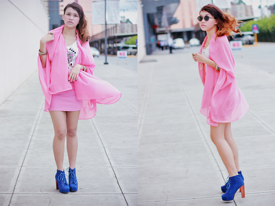 Mia Durano - Designed By Me Mullet Skirt Turned Cape, Random Bandage Skirt, Jeffrey Campbell Blue Booties - Pink Coordinated Soul.