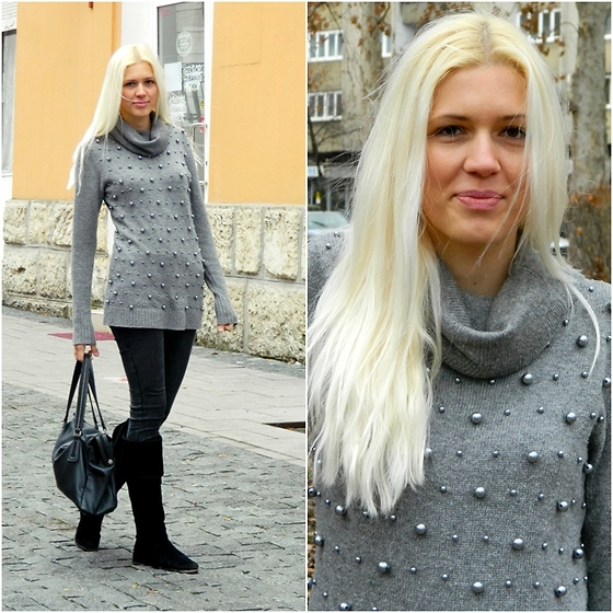 EDVIJA B. - New Yorker Sweater, New Yorker Pants, New Yorker Boots - Gray sweater