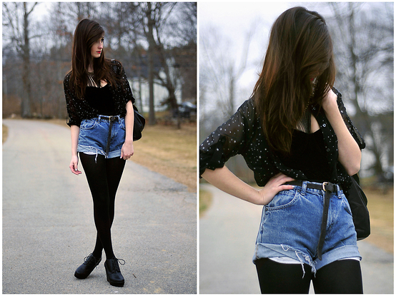 Caitlin Elise - Express Star Printed Blouse, Forever 21 Velvet Bustier, H&M Thin Black Belt, Diy High Waisted Denim Shorts, Vera Wang Black Opaque Tights, Forever 21 Black Lace Up Wedges - Wishing It Were Warmer.