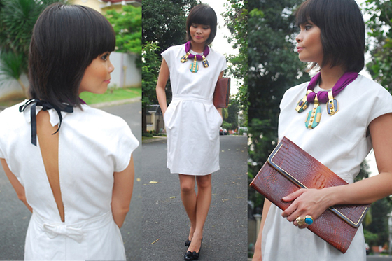 Lana Tiotuyco - Mango White Dress With Open Back, Joyce Makitalo Three Piece Necklace, Yves Saint Laurent Ysl Inspired Arty Ring, Crocodile Clutch - Holiday Dressing