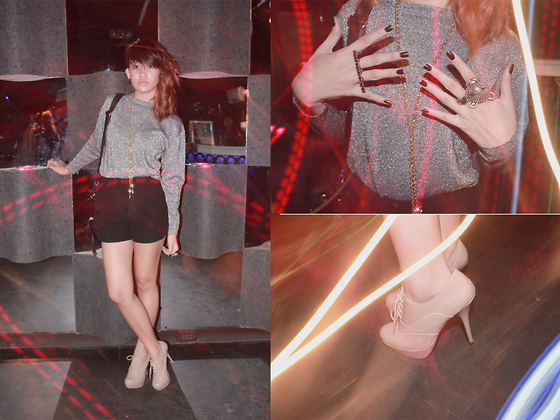 Mia Durano - Soul Lifestyle Tassel Necklace, People Are Nude Oxford Pumps, Spruce High Waist Shorts, Silver Sweater - Young Teen Nights