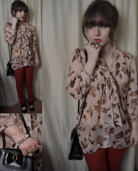 Steph Banks - Tkmaxx Rose Blouse, New Look Jeans, Vintage Shoes, Vintage Bag - Autumn Leaves