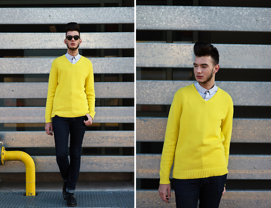 Billy Hazel - Zara Neon Yellow Sweater, Asos Light Grey Shirt, G Star Raw Black Jeans, Zara Black Tracktered Shoes - My Neon Soul