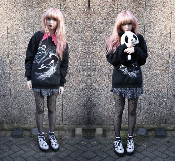 Kayla Hadlington - Ebay Creepers, Rokit Collar/ Blouse, Charity Shop Whale Jumper, Primark Skirt, Camden Market Panda Bag, Primark Tights, Ebay Socks - PANDA BAG