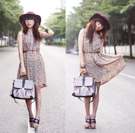 Linda Tran N - River Island Dress, Hat, Forever 21 Tights - With a little touch of vintage