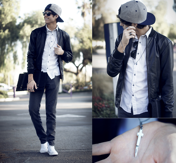 Adam Gallagher - Converse High Tops, Vans Hat, Viparo Leather Jacket, Topman Shirt, B.Lo Jewelry Switchblade Cross Necklace, Fabrix Satchel, Zara Pants - Switchblades & leather