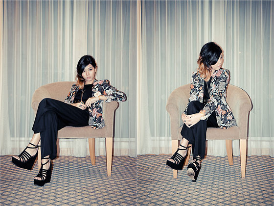Lenne C. - Zara Floral Blazer, Thescarletroom Jumpsuit, Topshop Black Wedges - Only if for a night