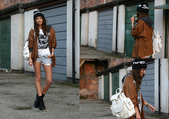 India Rose - Freshjive Tee, Grafea Rucksack, Levi's® Cut Offs, Romwe Creepers, Supreme Beanie, Vintage Leather Jacket - SWIMS