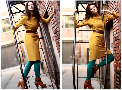 Amanda Christine W - American Apparel Tights, Vintage Turtleneck Dress, Urban Outfitters Heeled Booties - DELIAS ARUNA and THE GREAT ESCAPE