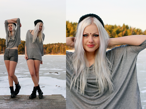 Sotzie Q Monki Black Knitted Hat Weekday Gray Oversize Top Tradera Swedish Ebay Gray Leather Shorts Great Cold Distance Lookbook