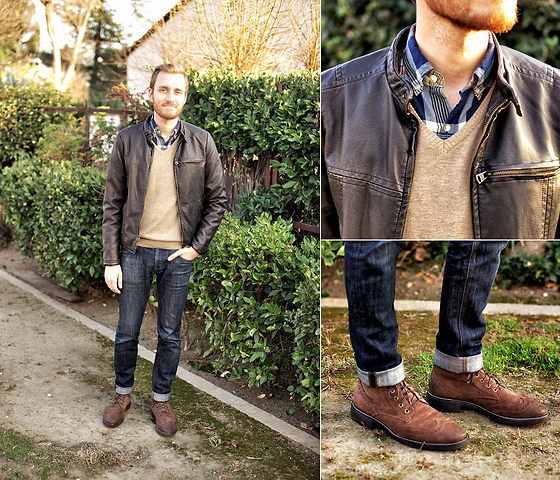 Stay Classic - Levi's® Faux Leather Motorcycle Jacket, J. Crew Madras Shirt, H&M Sweater, 1901 Carl Wingtip Boots - January 20, 2012
