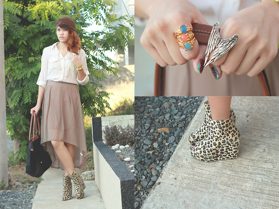 Mia Durano - Asymmetrical Skirt, Forever 21 Cream Polo Shirt, Asianvouge Leopard Print Wedges, Soul Lifestyle Angel Wings Ring, Longchamp Le Pliage - Symmetry.