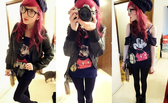 Nicki D. - Layla Creeping In The Background, Rue 21 Faux Leather Jacket, Forever 21 Black Floppy Beanie, Wal Mart Mickey Mouse Shirt, Payless Studded Boots - Mickey