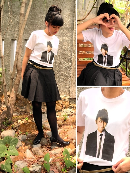 Kiwijusje - Sosweetan Printed T Shirt, The Executive Belt, Mineola Black Skirt - I Love Mr. Kim Hee Chul (김희철 씨 사랑해)