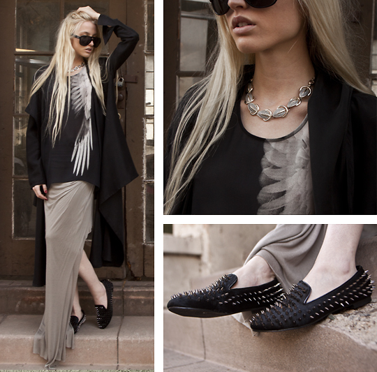 Marie Hamm - Mosely Tribes Sunglasses, Helmut Lang Silk Graphic Tank, Helmut Lang Asymmetrical Skirt, Vintage Necklace, Romwe Spiked Loafers - Bird of Prey.