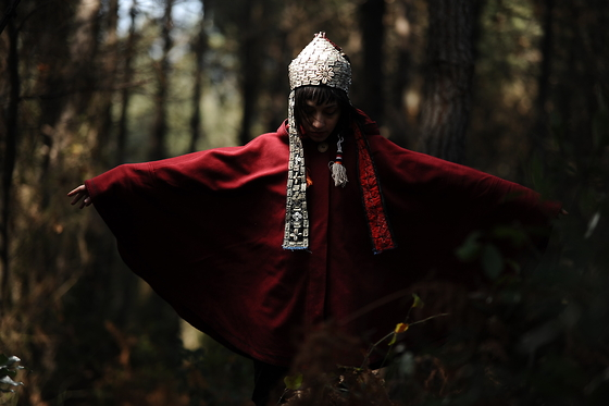 ☾  Nocticula Hekate ♆ - Turkmen Bridal Head Dress, Dark Red Poncho - A Shaman in her Disguise as a Firebird