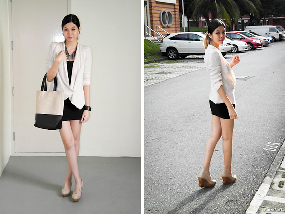 Lenne C. - Global Citizen Chiffon Blazer, Global Citizen Faux Snake Skin Bag, Jipaban Nude Wedges - Excuse me, but can I be you for awhile?