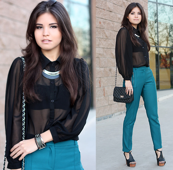 Adriana Gastélum - Causewaymall Black Sheer Shirt, Asos Teal Pants, My Blog! - Don't slow me down if I'm going too fast