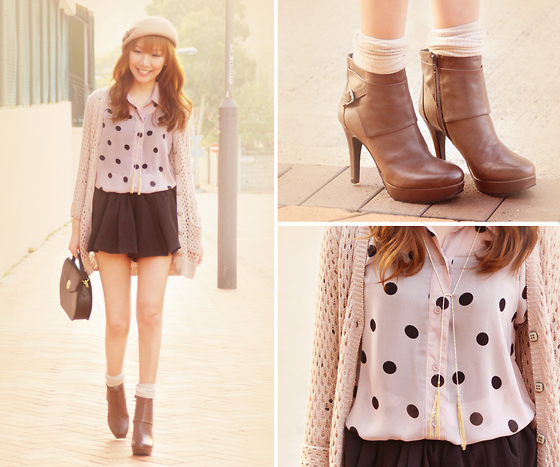Dotthy Wong - Dazzlin Skirt, Joy & Peace Shoes, Japan Necklace, Forever 21 Cardigan, Forever 21 Blouse - Sweet Potato Pecan Pie ♥