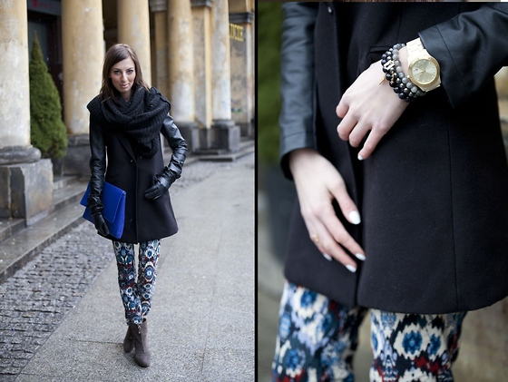Caroline G - Zara Aztec Pants, Stradivarius Coat With Leather Sleeves, Made By My Mum Navy Blue Clutch, Triwa Watch - Domino