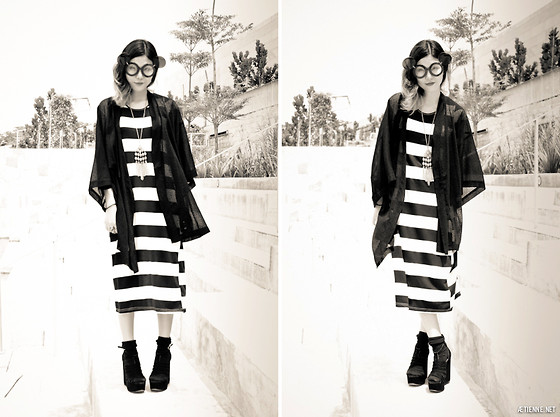 Lenne C. - Monki Sheer Jacket, Global Citizen Striped Maxi Dress, Topshop Black Wedges - Summertime Sadness
