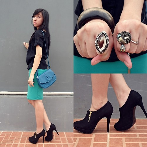 Rehana Silver - New Look Zipper Boots, Luvelle Rings, Mango Sling Bag - Turquoise n Blue