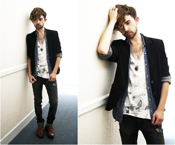 Charlie Matthews - Harvey Nichols Blazer, Vintage Denim Shirt, All Saints Top, H&M Jeans - Becoming Another Me