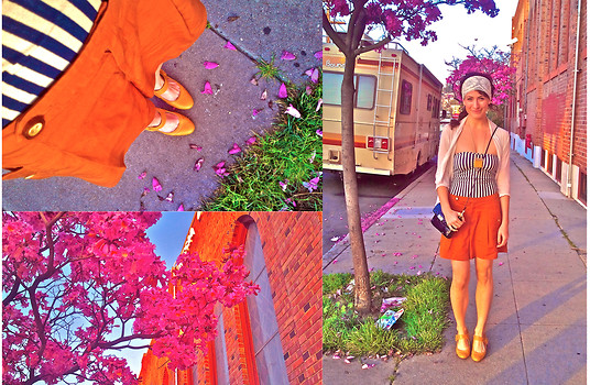 Amanda Christine W - American Apparel Cotten Spandex Ruched Strapless Bodysuit, Anthropologie Shorts, Vintage Mary Janes, Amazing Tree, Coach Patent Leather Purse - Oh happy day