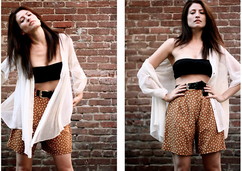 Amanda Christine W - Urban Outfitters Black Bandeau, Vintage Spotted Silk Shorts, Vintage Snakeskin Belt, Romeo + Juliet Couture Sheer Button Up - MISTAKES WELL MADE