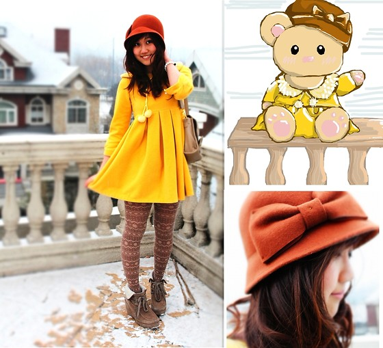 Jen L - Charlotte Russe Bow Cloche, Forever 21 Fair Isle Heart Tights, Vintage Yellow Winter Dress, Liz Lisa 2way Bow Bag - Honey and bears