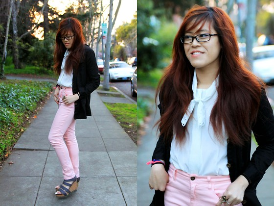 Bernadette Le - Forever 21 Pink Jeans, Lace Button Up Shirt, Yesstyle Utility Jacket, 80%20 Willa Wedge - Pink