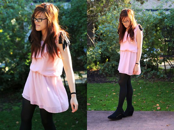 Bernadette Le - Yesstyle Dress With Bows On The Straps, Urban Outfitters Wedges - Pink and Black